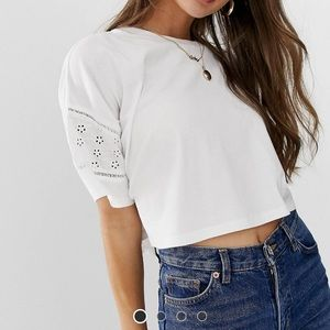 ASOS Crop Tee w/ Embroidered Sleeves